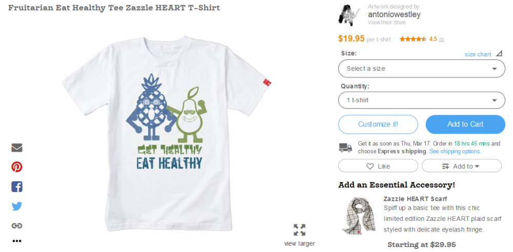 Fruitarian Eat Healthy Tee Zazzle HEART T-Shirt - Zazzle 2016-03-15 03-45-03
